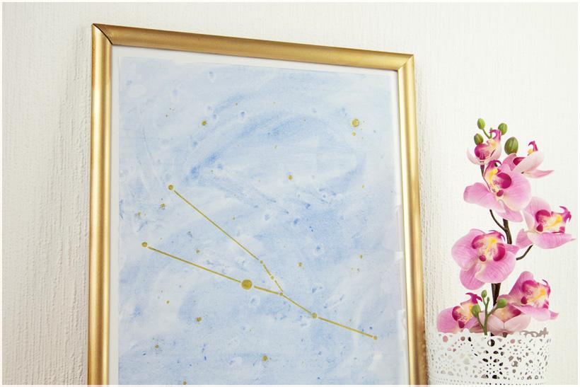 Geschenk mit Sternzeichen und Wasserfarbe selber machen