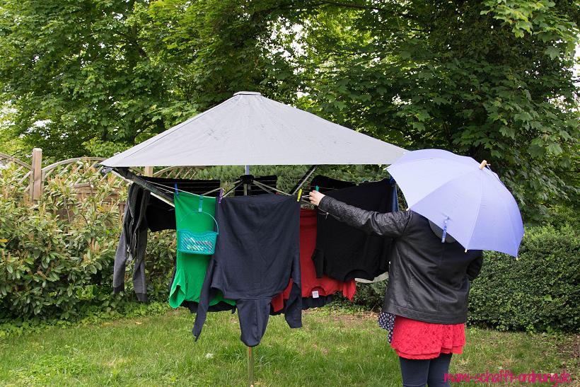 Wäschetrocknen bei Regen